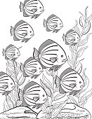 Underwater School Of Fish Hand Drawn Adult Coloring Book Page. Lots of details.