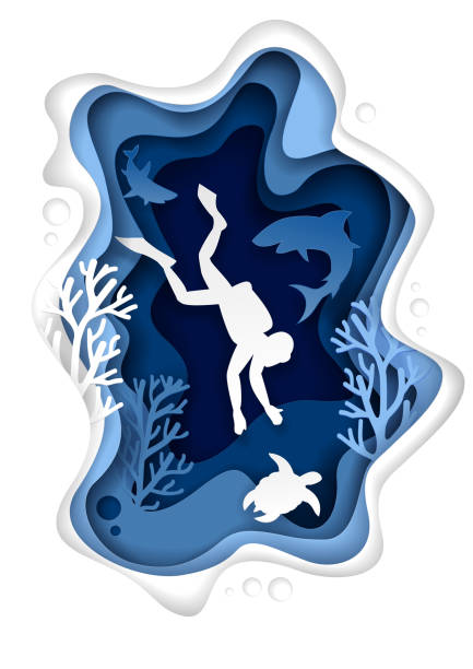 Underwater scuba diving vector paper cut illustration Vector paper cut underwater sea cave with coral reef fish seaweed and diver swimming with sea turtle and sharks. Underwater world landscape. Scuba diving poster banner design template. diving into water stock illustrations
