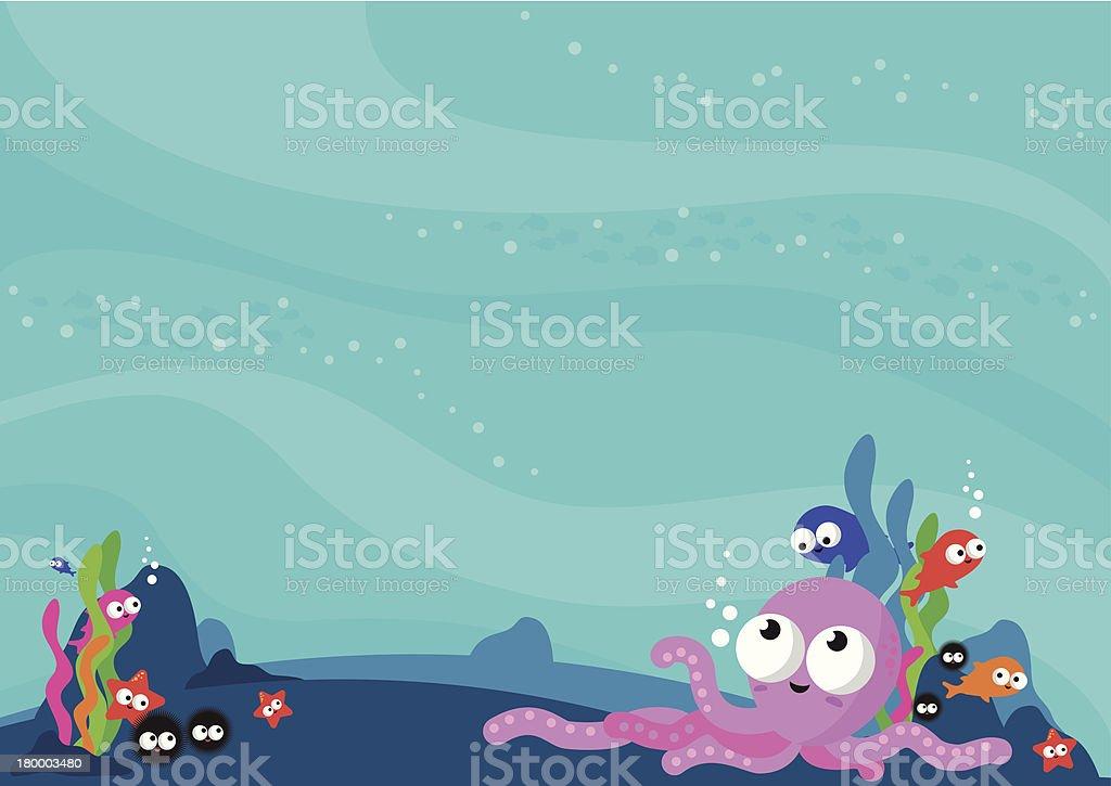바닷속이 바다빛 동물 배경기술 벡터 아트 일러스트