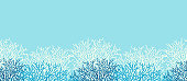Underwater sea life ocean banner background with blue coral reef