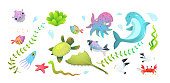Cute kids sea creatures set: dolphin, sea star, fishes and squid, crab and other amusing underwater creatures. Vector cartoon.