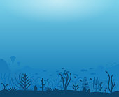 Underwater ocean scene. Deep blue water, coral reef and underwater plants with fish. Marine water life and ground with rocks. Modern line illustration.