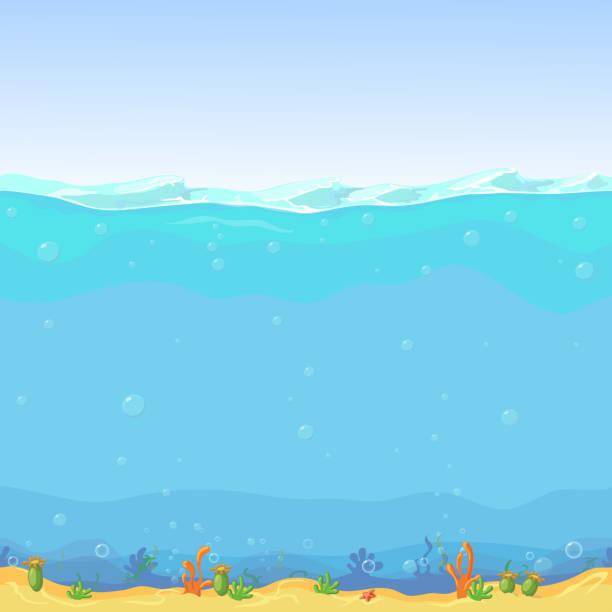 unterwasser nahtlose landschaft, cartoon hintergrund für spiel-design - unterwasseraufnahme stock-grafiken, -clipart, -cartoons und -symbole