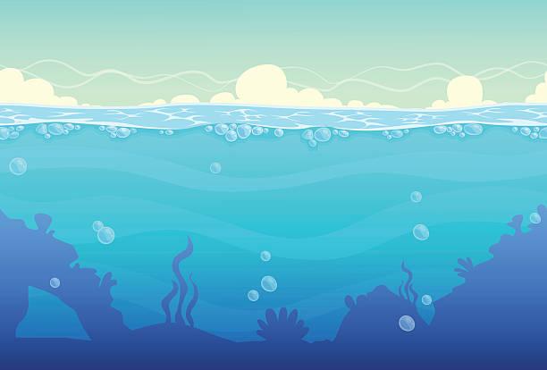 stockillustraties, clipart, cartoons en iconen met underwater seamless landscape - ocean under water