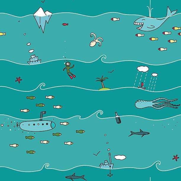 illustrazioni stock, clip art, cartoni animati e icone di tendenza di subacqueo pattern senza bordi - immerse in the stars