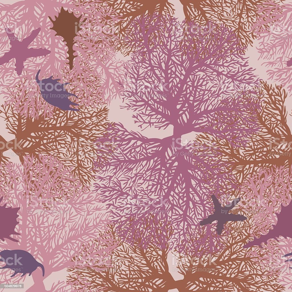 Underwater seamless pattern with coral and seashells. vector art illustration