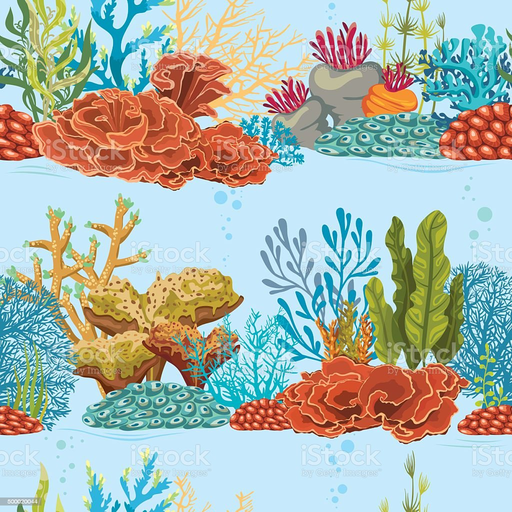 Underwater Seamless Pattern With Coral Reef Stock Vector