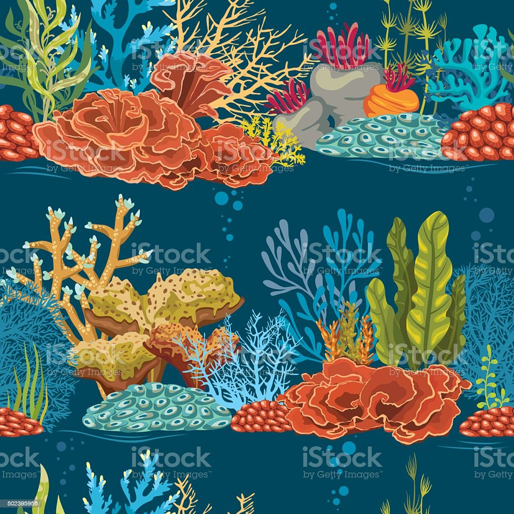 Underwater seamless pattern with coral reef. vector art illustration