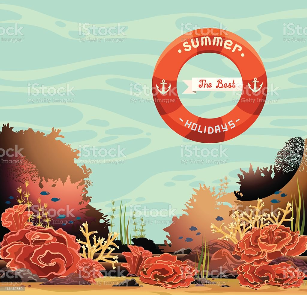 Underwater seascape and coral reef. Summer holidays. vector art illustration