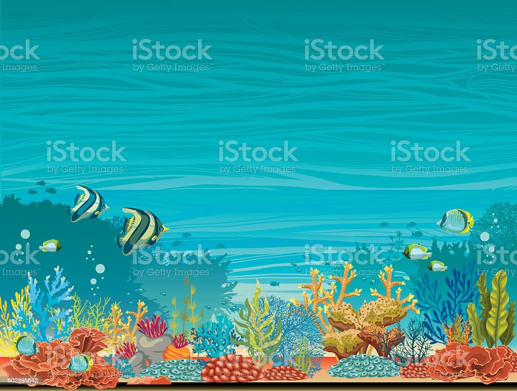 Underwater seascape - coral reef and fish. vector art illustration