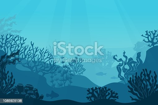 Underwater seascape. Seafloor, undersea with seaweed. Dark saltwater with corals silhouettes. Ocean reef bottom vector background