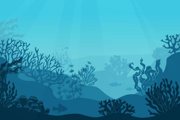 Underwater seascape. Seafloor, undersea with seaweed. Dark saltwater with corals silhouettes. Ocean reef bottom vector background_itog Underwater seascape. Seafloor, undersea with seaweed. Dark saltwater with corals silhouettes. Ocean reef bottom vector background living organism stock illustrations