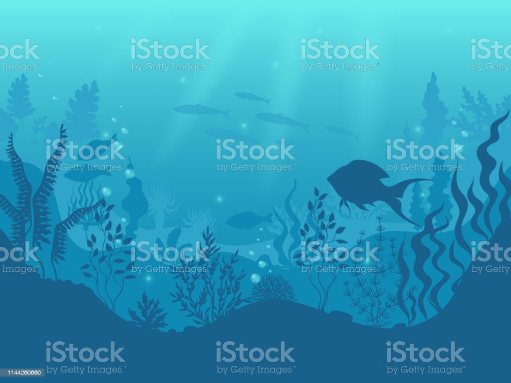 Underwater silhouette background. Undersea coral reef, ocean fish and marine algae cartoon scene. Vector aqua life and sea bottom Underwater silhouette background. Undersea coral reef, ocean fish and marine algae cartoon scene, sunbeams under water. Vector aqua life and sea bottom Algae stock vector