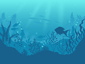 Underwater silhouette background. Undersea coral reef, ocean fish and marine algae cartoon scene, sunbeams under water. Vector aqua life and sea bottom