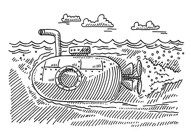 Underwater Submarine Boat Drawing Hand-drawn vector drawing of a Submarine Boat swimming Underwater. Black-and-White sketch on a transparent background (.eps-file). Included files are EPS (v10) and Hi-Res JPG. transportation stock illustrations