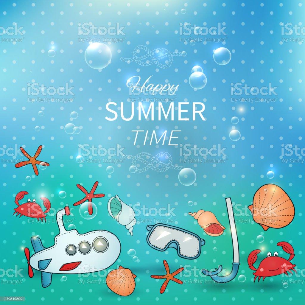 Underwater summer card. vector art illustration
