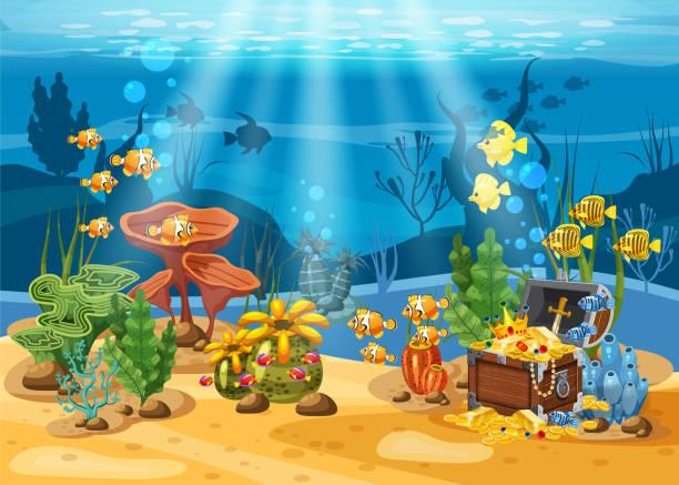 unterwasser schatz, brust an der unterseite des ozeans, gold, schmuck auf dem meeresboden. unterwasserlandschaft, korallen, algen, tropische fische, vektor, cartoon-stil, isoliert - gesunken stock-grafiken, -clipart, -cartoons und -symbole