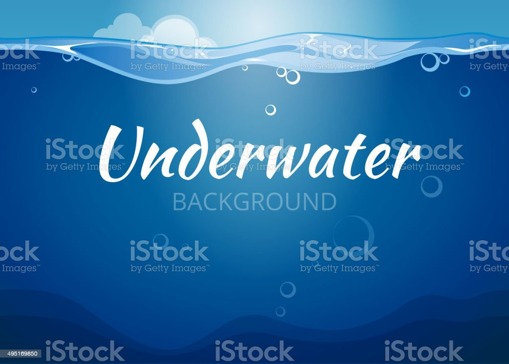 Underwater vector background in comic book style vector art illustration