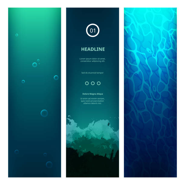 Underwater View Blue Background Underwater View Blue Background with Waves, Bubbles, Sunlight and Ripples. Vector Vertical Banners for Web Sites. Ocean or Sea Under Water. diving into water stock illustrations