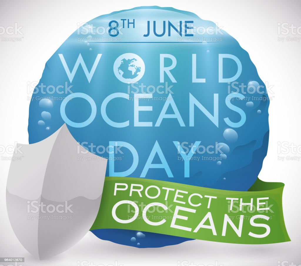 Underwater View in Button, Shield and Ribbon for Oceans Day - Royalty-free Alertness stock vector