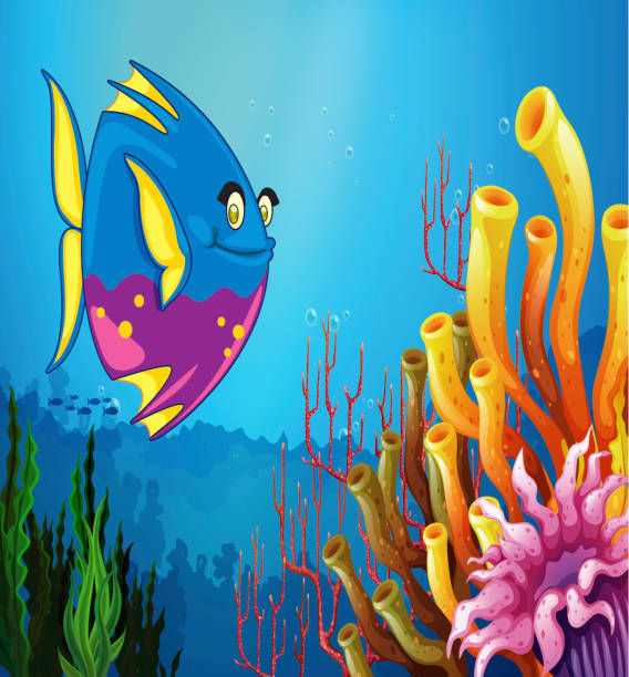 underwater view with a big fish and beautiful coral reefs - fossilized leaves stock illustrations