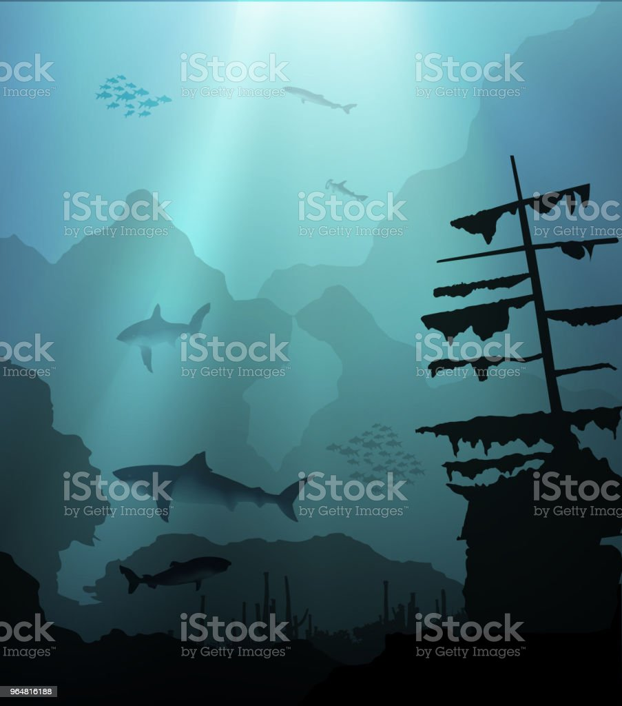 Underwater With Sharks And Sunken Ship Stock Illustration