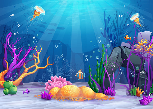 Underwater world cartoon illustration