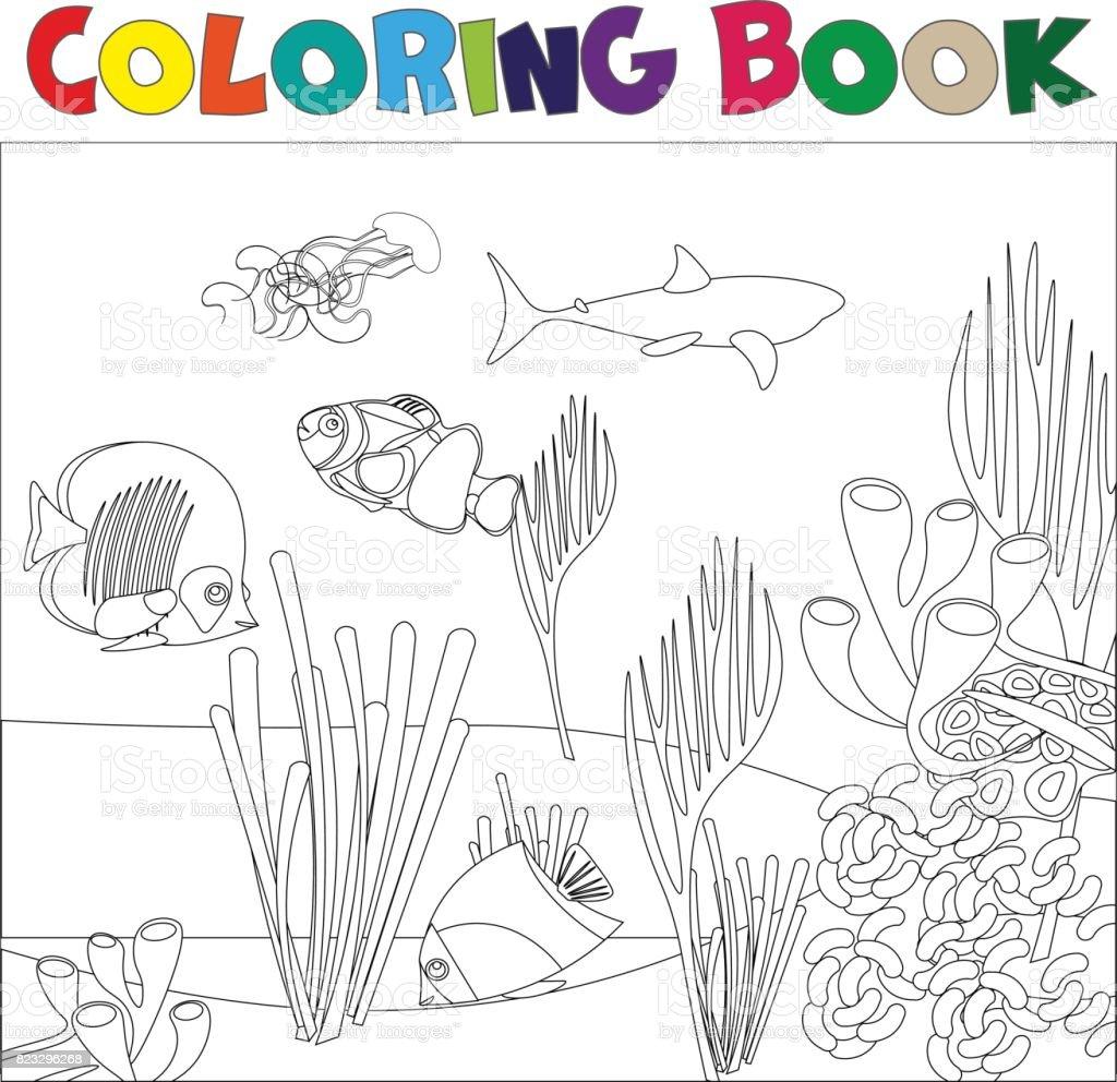Onderwater Wereld Kleurplaat Pagina Voor Kinderen