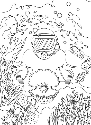 underwater world coloring page