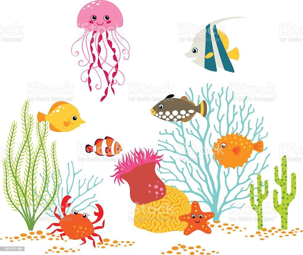 Underwater world design vector art illustration
