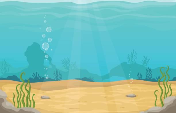 unterwasserwelt im meer vektor cartoon landschaft - unterwasseraufnahme stock-grafiken, -clipart, -cartoons und -symbole