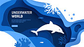 Underwater world page template. Paper art underwater world concept with dolphin silhouette. Paper cut sea background with dolphin, waves, fish and coral reefs. Craft vector illustration.