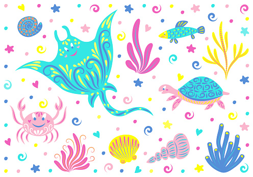 Underwater world. Set of sea animals: stingray, crab, turtle, shells, fish, seaweed and starfish. Children vector illustration. Isolated objects on a white background.