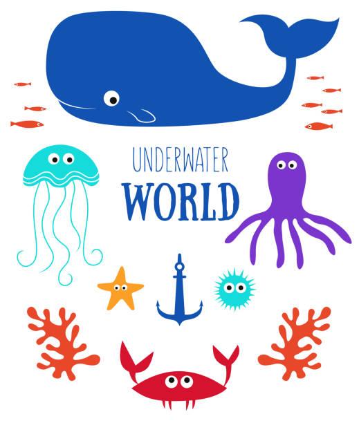 illustrazioni stock, clip art, cartoni animati e icone di tendenza di underwater world - immerse in the stars