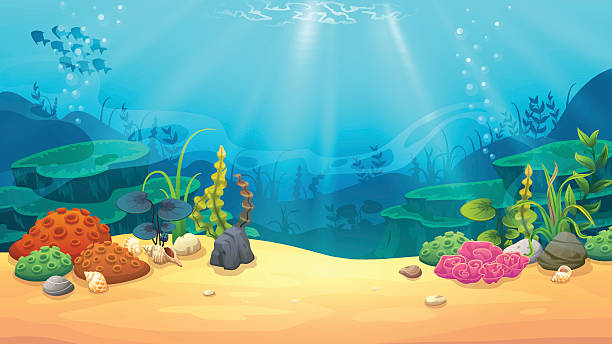 stockillustraties, clipart, cartoons en iconen met underwater world - depth vector