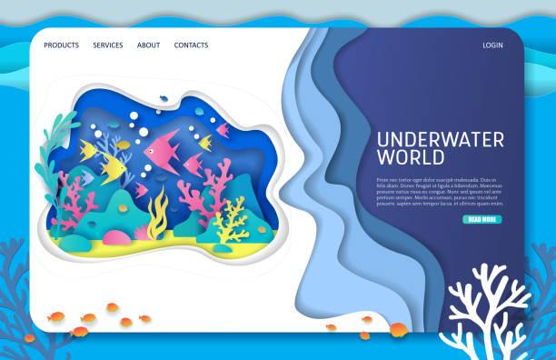 水中世界ベクトルウェブサイトランディングページデザインテンプレート - 水族館点のイラスト素材/クリップアート素材/マンガ素材/アイコン素材