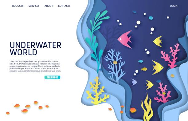 stockillustraties, clipart, cartoons en iconen met onderwaterwereld vector website landing page ontwerpsjabloon - ocean under water