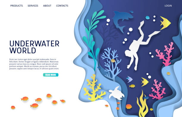 Underwater world vector website landing page design template Underwater world vector website template, web page and landing page design for website and mobile site development. Paper cut undersea cave, scuba diver, coral reef, fish, shark, turtle. Scuba diving. diving into water stock illustrations