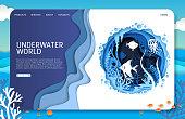 istock Underwater world vector website landing page design template 1214281781