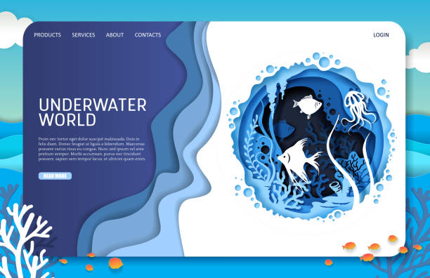 Underwater world vector website landing page design template Underwater world vector website template, landing page design for website and mobile site development. Layered paper cut style underwater sea ocean cave, tropical exotic fish, aquatic plants. sea stock illustrations