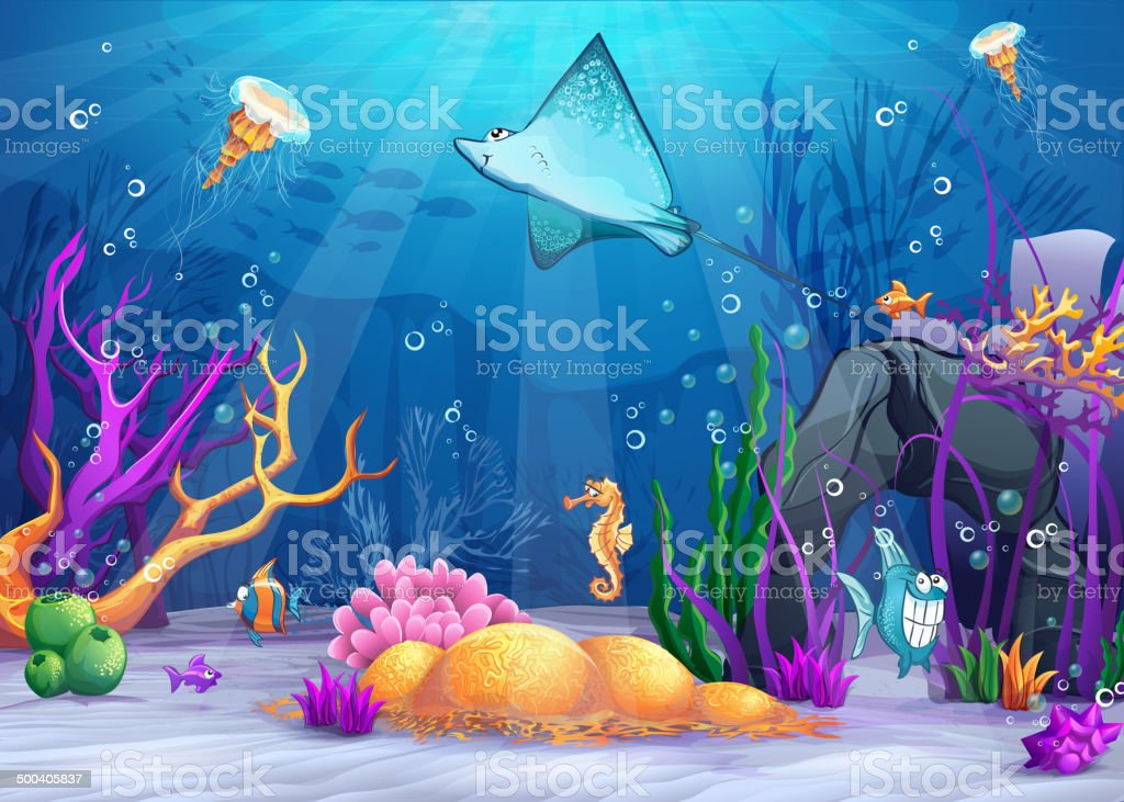 underwater world with a funny fish and fish ramp vector art illustration
