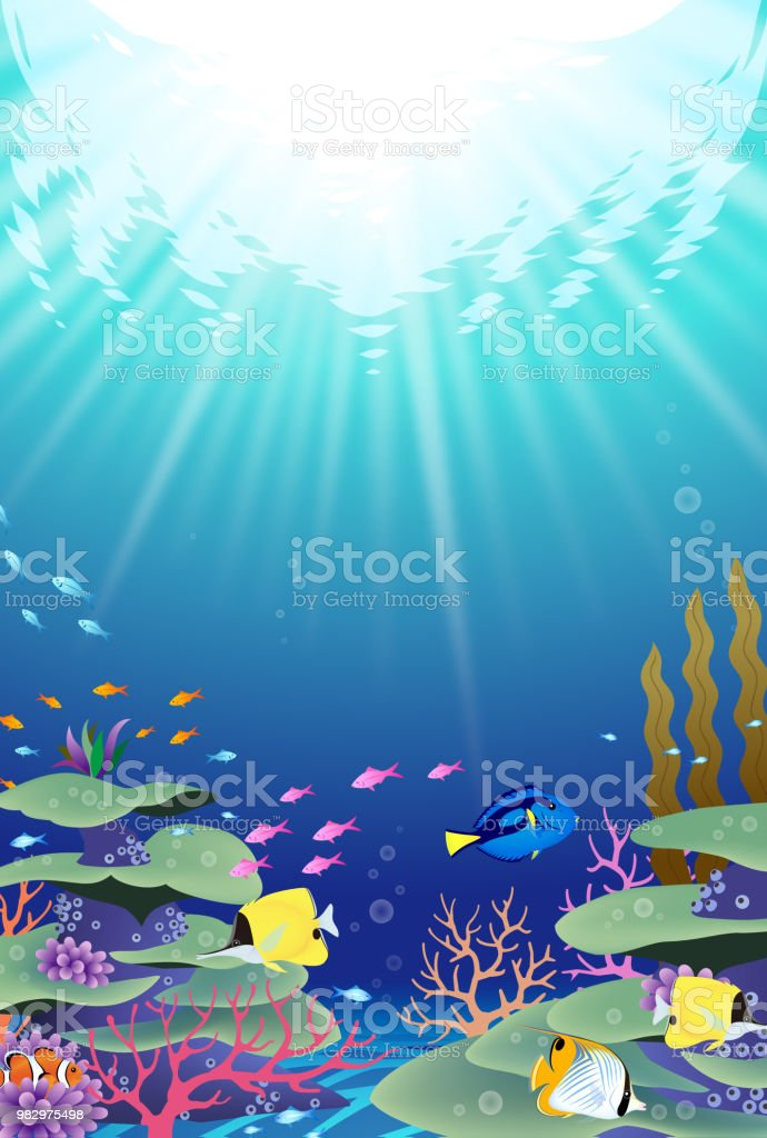 Underwater world with corals and tropical fish vector art illustration