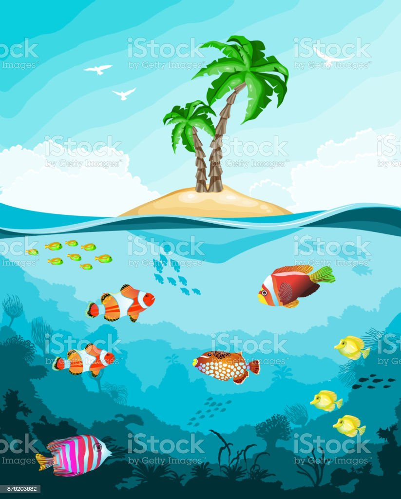Underwater world with fish and tropical island vector art illustration