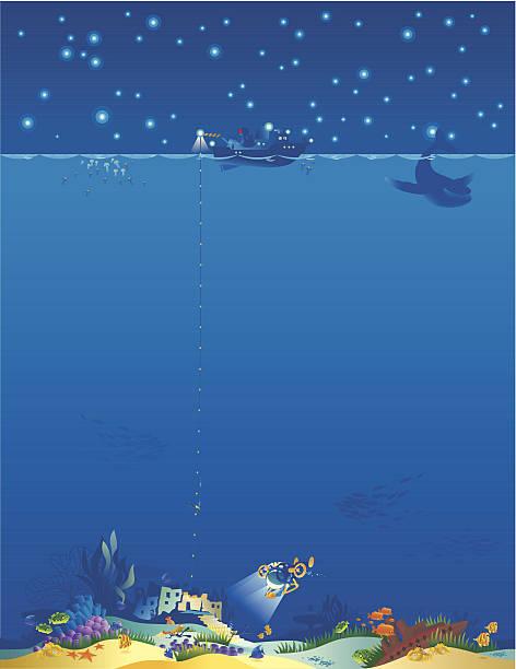 illustrazioni stock, clip art, cartoni animati e icone di tendenza di mondo sottomarino verticale. - immerse in the stars