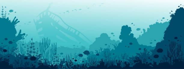 unterwasser wracks, korallenriffe, fische und meer. - gesunken stock-grafiken, -clipart, -cartoons und -symbole