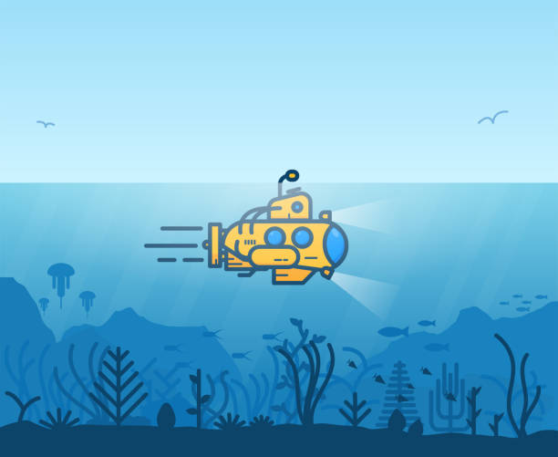 illustrations, cliparts, dessins animés et icônes de sous-marin jaune sous-marin - sous marin