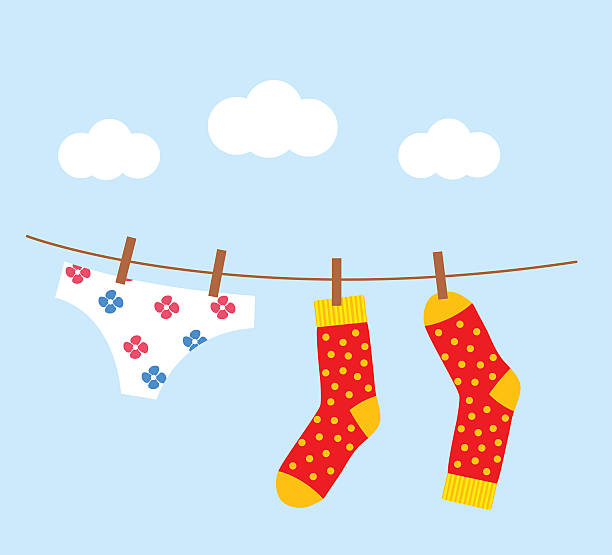 underwear and socks drying on the clothesline - wäscheleine stock-grafiken, -clipart, -cartoons und -symbole