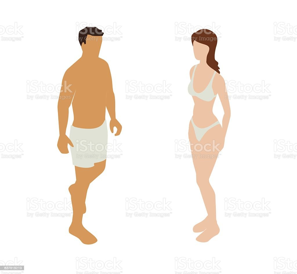 Underwear Couple Spot Illustration vector art illustration