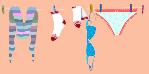 underwear drying on clothesline. woman hipster tights, socks, pants and bra. vector underwear, laundry, woman clothes: tights, socks, pants and bra, drying on clothesline, rope with clothespins. modern girl hipster apparel. nice vector illustration little girls in panties stock illustrations
