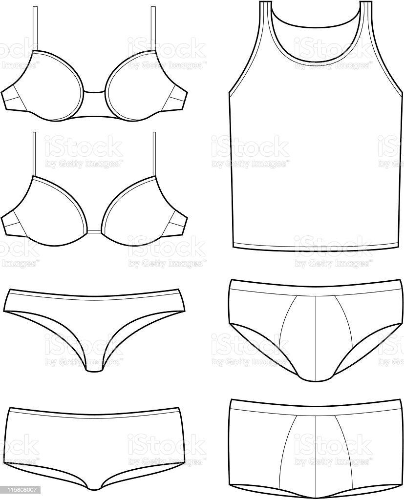 underwear templates vector art illustration
